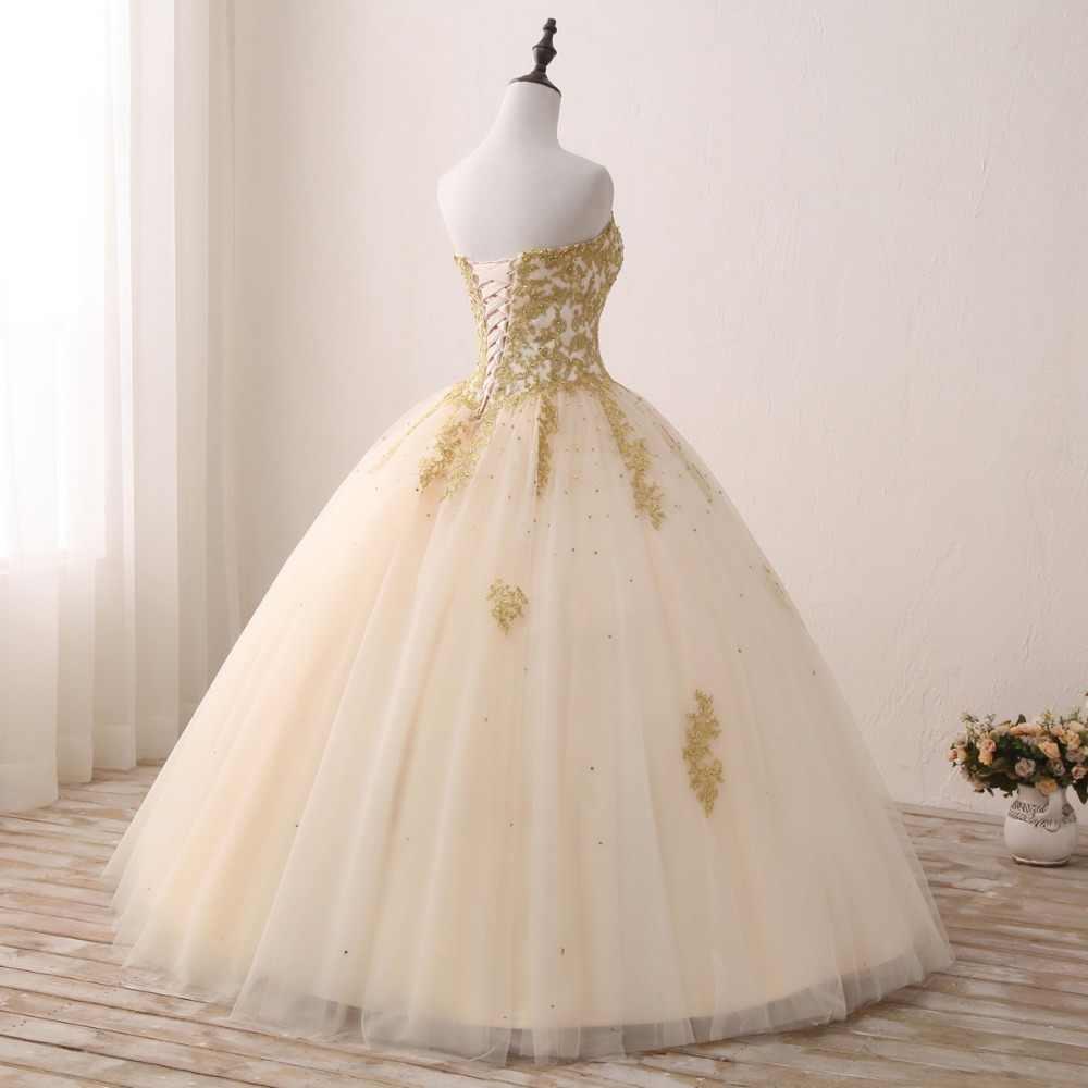 JaneVini легкий кремовый цвет пышные платья бальное платье 2019 Милая Золотая Аппликация из бисера тюля пышные платья Vestido 15 Anos