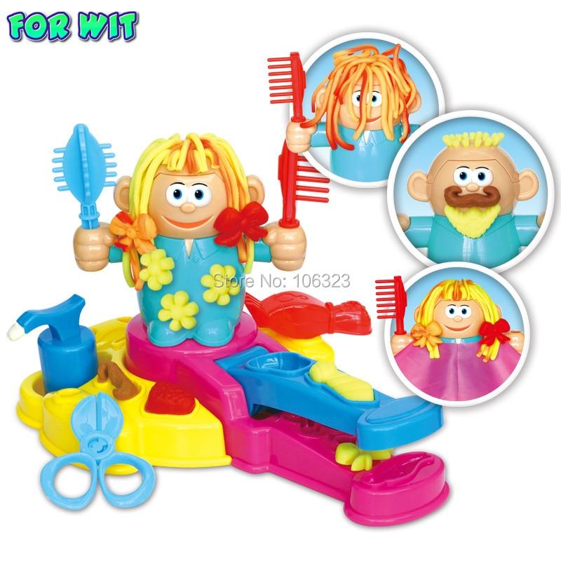 Nova Moda Cabeleireiro Cor Brinquedos Argila, Cabelo Crescer / Design / Cut / Comb Plasticina e Kit de Ferramentas, DIY Playdough Moldagem, Favor da menina