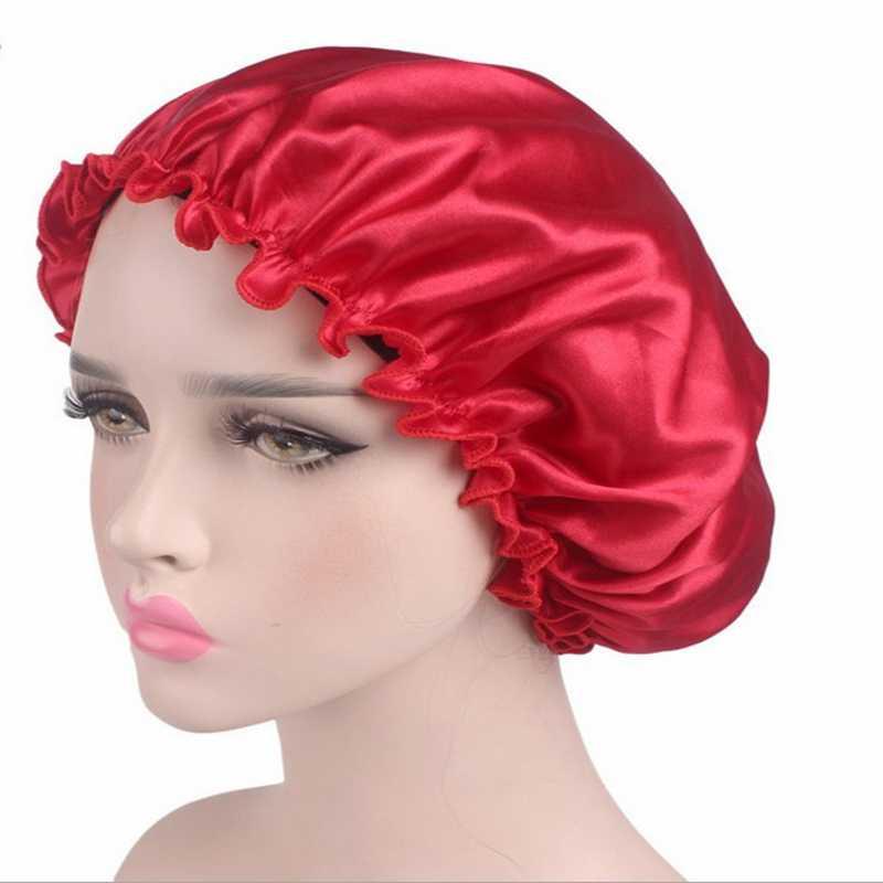 Duş Başlığı Için Bayanlar Düz Renk Kadın Saten Kaput Kap Gece Uyku Şapka Ipek Kafa Wrap Ayarlamak duş boneleri
