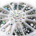 Hot Sale 5 Tamanhos Multicolor Branco Acrílico Nail Art Decoração Pedrinhas Glitter 3D Nail Art Decoração + Roda