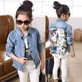 2016 Girls Kids Flower Lace Denim Patchwork Jacket Autumn Winter Feminine Children's Korean Fashion Coat Cowboy Jackets
