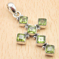 Birthstone Green CROSS Pendant 1 1 2 Real PERIDOT 6 Gems Silver Plated Jewelry