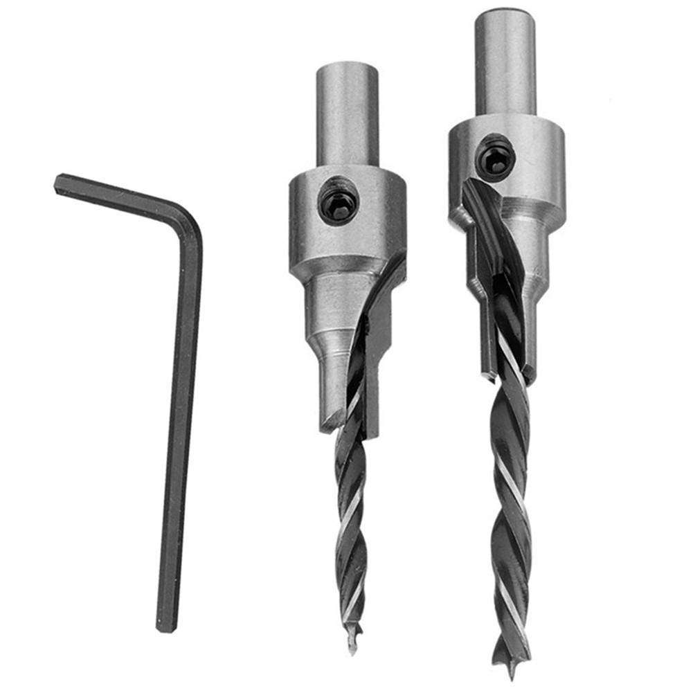 2PCS Woodworking Countersink Drilling 3 Step Pilot Drill Bit Set Reamer Screw Wood Window Hinge Hole Saw Chamfer 4/6/5/7 Mm Step