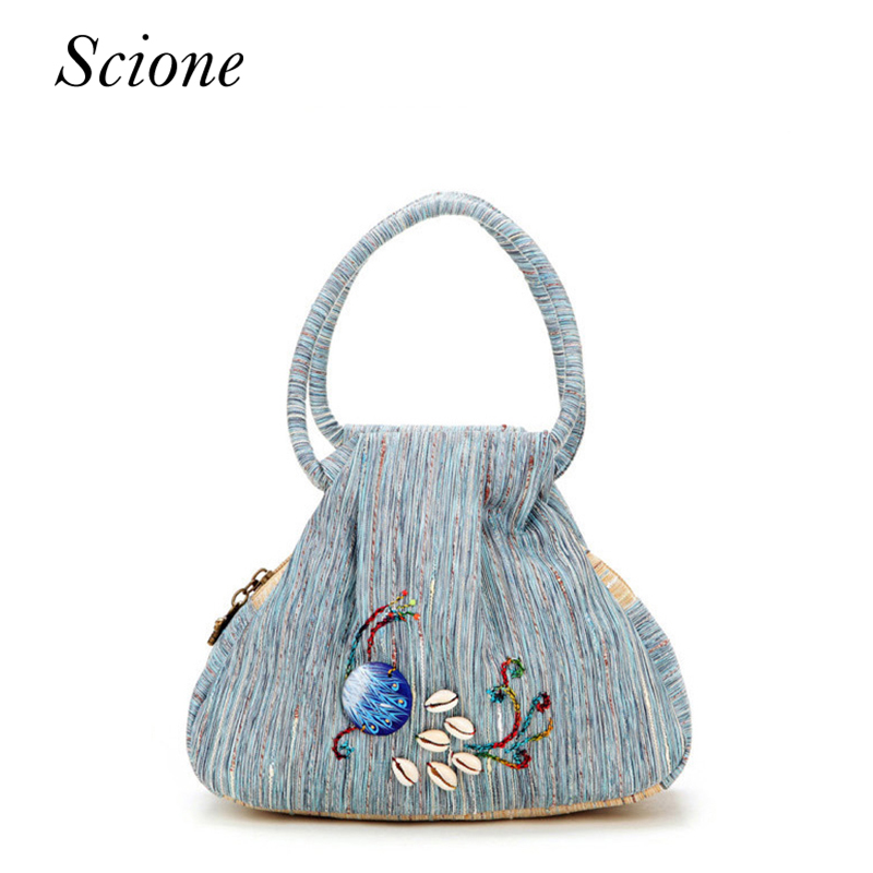 Female National Chinese Canvas Handbag Floral Embroidered Women Messenger Bags Daily Shopping Small Bag Tote Sac a Dos Femme