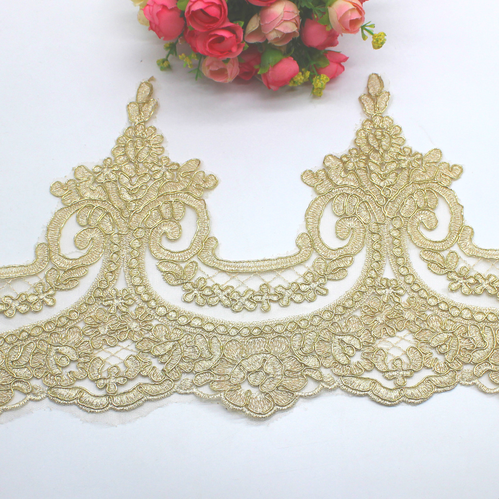 87cc0412d4ce2b top 8 most popular scalloped lace trim gold list and get free ...
