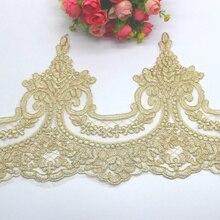 Apliques de encaje bordado dorado, 5 Yds, adornos de encaje dorado champán, tela de encaje de tul ligero, fajas de novia festoneadas de 23 31CM