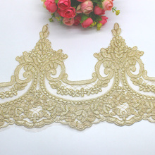 Gold Embroidered Lace Appliqued 5 Yds Champagne Gold Lace Trims Light Tulle Lace Fabric Scalloped Bridal Sashes 23 31CM