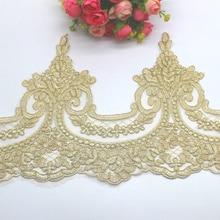 Ouro bordado renda appliqued 5 yds champagne ouro rendas guarnições luz tule tecido de renda scalloped faixas de noiva 23 31 cm