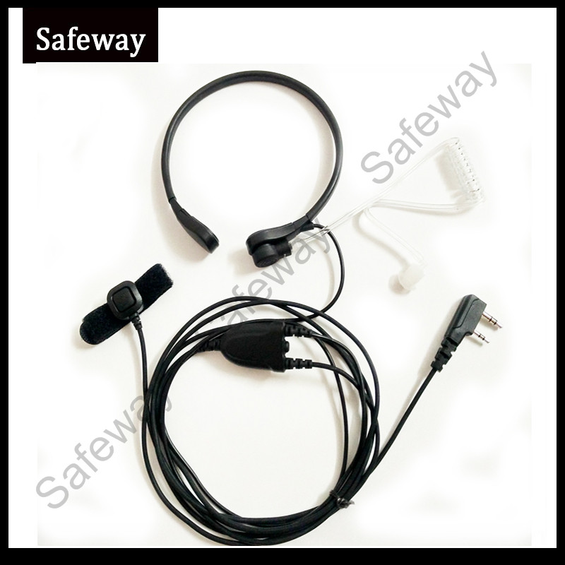 Quality Throat Microphone With Air Tube Finger PPT For BAOFENG Two Way Radio Headset 888S UV-5RPlus UV-5REPlus TK3107 For Wouxun