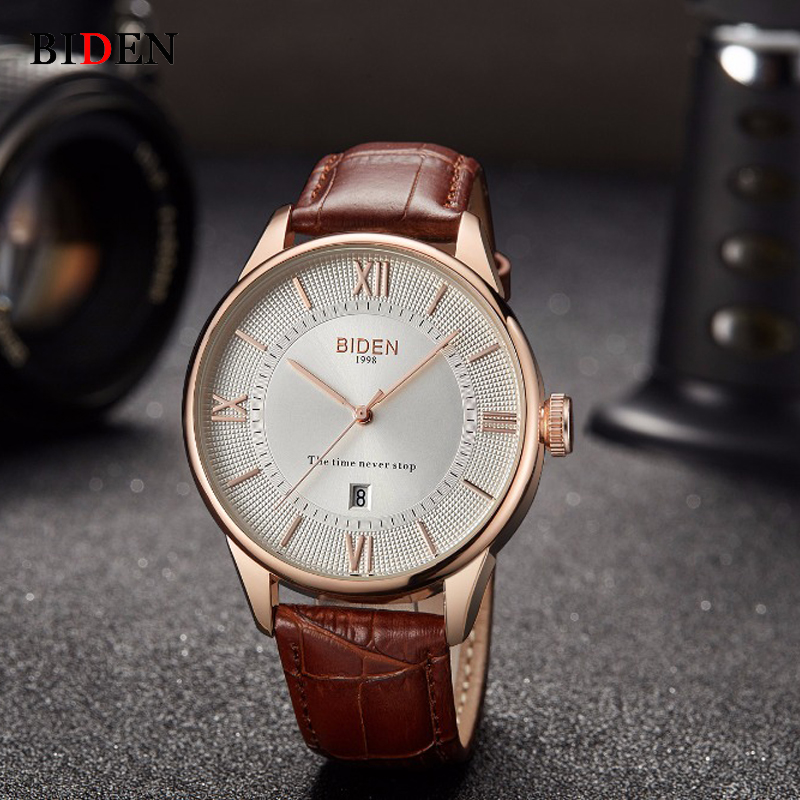BIDEN Top Brand Luxury Chronograph Date Watch Men Military Sport Male Clock Leather Band Mens Watches Business Quartz Clocks x7dca l industrial motherboard 100
