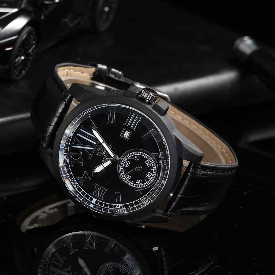 Fashion Pria Wanita Watch Kuarsa Analog Kulit Roman Skala Round Wrist Watch Mens Watches Top Brand Luxury Otomatis Mekanis