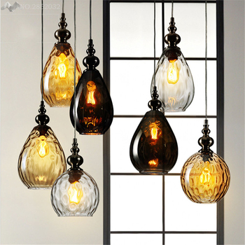 Loft Style Creative Nordic Vintage Glass Led Pendant Light Retro Pendant Lamp Coffee Droplight Dinning room Hanging Lamps Deco