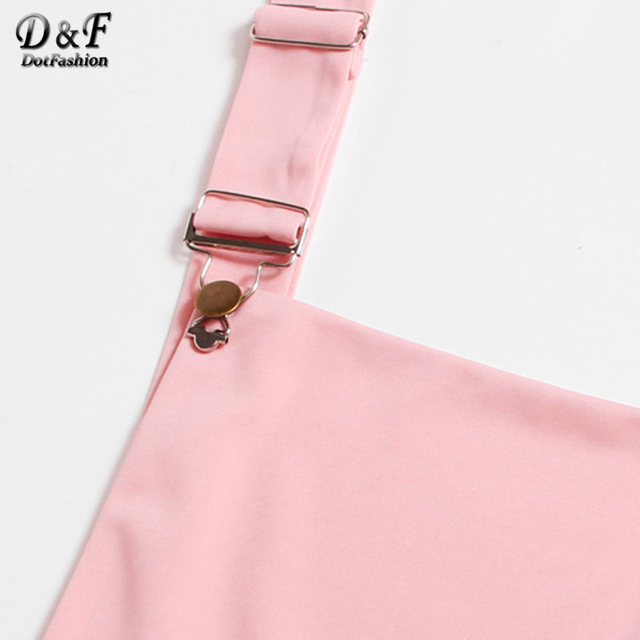 Dotfashion Pleated Zip Up Back Pinafore Dress 2017 New Pink Short Pinafore Woman Clothing Straps Sleeveless Solid Dress