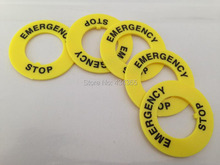 100pcs Yellow Plastic  22mm Push Button Switch Emergency Stop Warning Ring outer dia 40mm