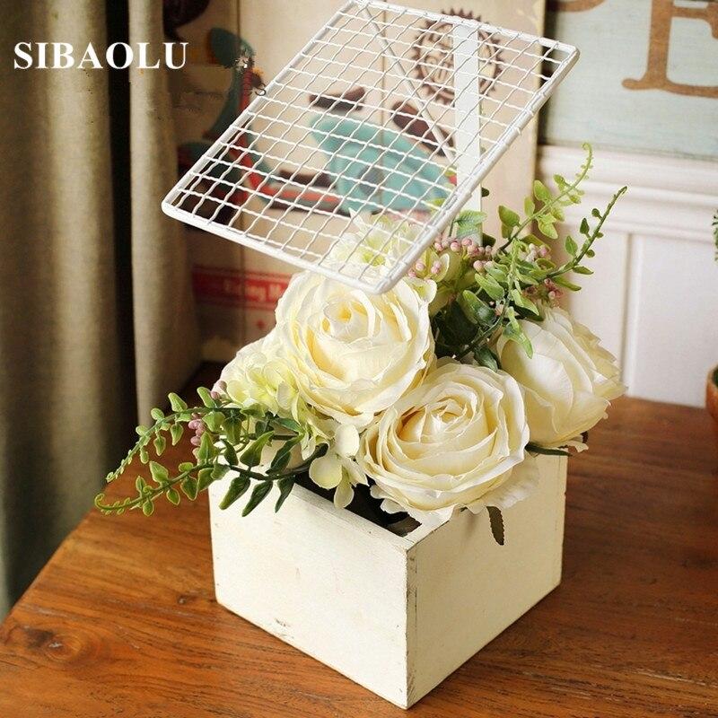 Desktop Flower Vase Storage Shelf Pastoral Metal Storage Holder Flower Racks Makeup Organizer Wedding Centerpiece Flower Self