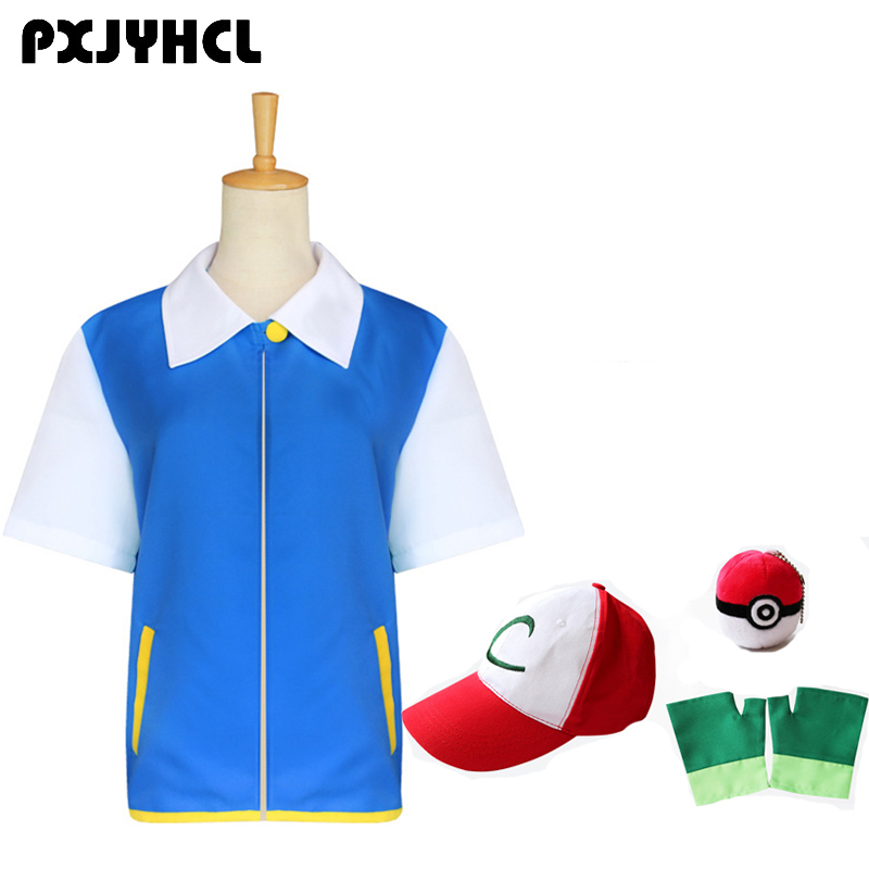 Pokemon Trainer Cosplay Costume Blue Jacket Gloves Hat Ash Ketchum For Boy Girl Adult Anime Pocket Monste Suit Christmas Gift