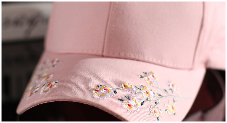 cap women black pink baseball cap women black flowers white caps womens cap women baseball caps embroidery (2)