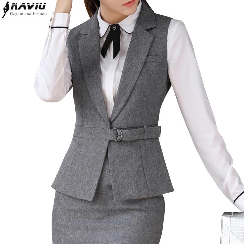 Spring summer women vest skirt suits work wear set business formal slim vest office ladies plus size uniforms