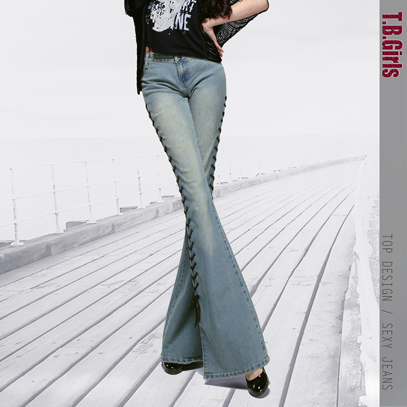 Top Designer Women 2016 Mid Waist Flare Trousers Famale Wide Leg Trousers Fashion Boot Cut Jeans