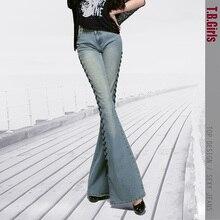 Топ-Дизайнер Женщин 2016 Средний Талия Flare Брюки Женское Широкую Ногу Брюки Моды Загрузки Покроя Джинсы