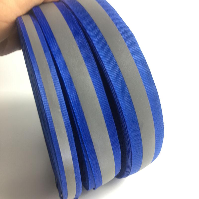 50M/Roll Royal Blue Reflective Fabric Ribbon Webbing Reflection Strip Edging Braid Sewing On Garment Accessories