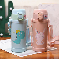 Cartoon Children's Thermo Mug With Straps Kindergarten Straws Cups 316 Stainless Steel Vacuum Flask Cute Portable Water Bottle