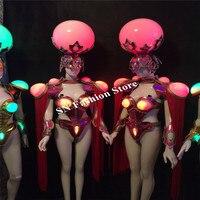Ds02 белый красный цвет зеленый, синий свет костюмы женские платья бальных танцев шоу на сцене носит Косплей певица DJ Сексуальный Бюстгальтер