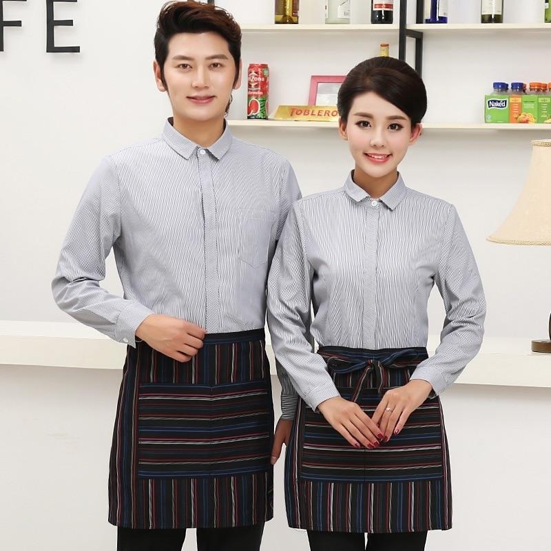 Hotel Work Clothes Women Waitress Restaurant Hotpot Uniform Catering Dining Long Sleeves Single Shirt Waiter Men Overalls H2355