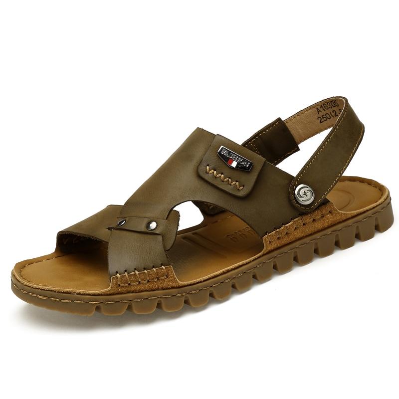 Brand 38 46 High Quality 100 Full Grain Leather Summer Men Sandals Metal Buckle Decoration Flat