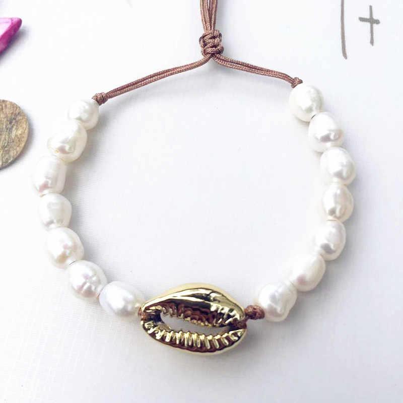 Boho Puka Natürliche kauri Shell halskette frauen erklärung perle barock bijoux choker halskette Collier de coquillages schmuck 2018