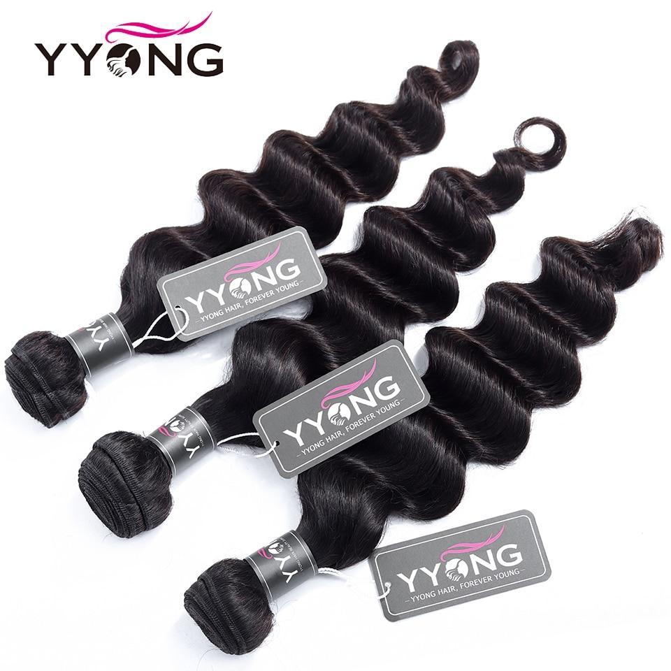 HTB1wnPgUkvoK1RjSZFwq6AiCFXag Yyong Hair 3 / 4 Brazilian Loose Deep Wave Bundles With Closure 100% Remy Human Hair Weave Bundles With Lace Closure Can Be Dyed