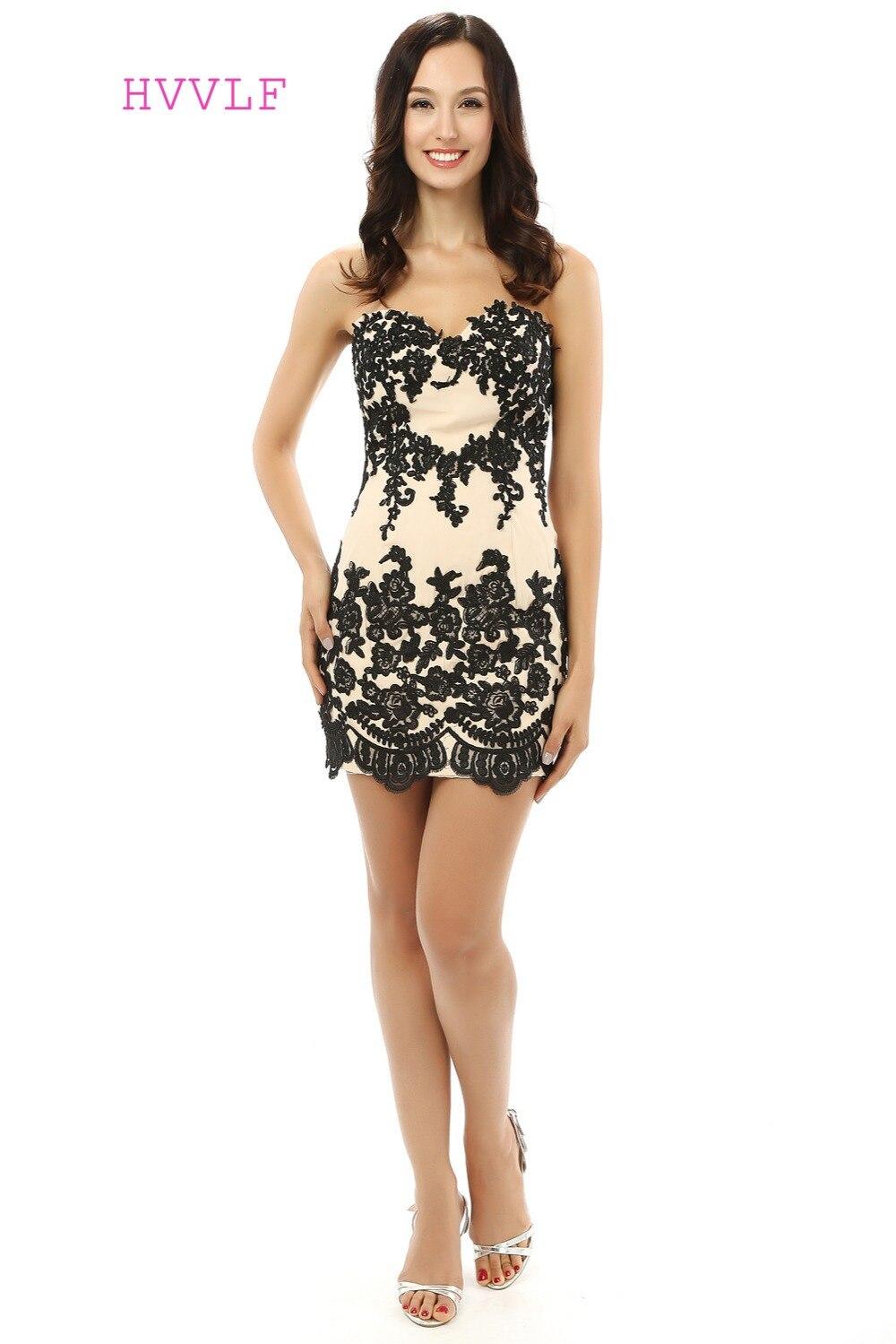Black Elegant Cocktail Dresses Sheath Sweetheart Satin Appliques Lace Short Mini Homecoming Dresses 2019