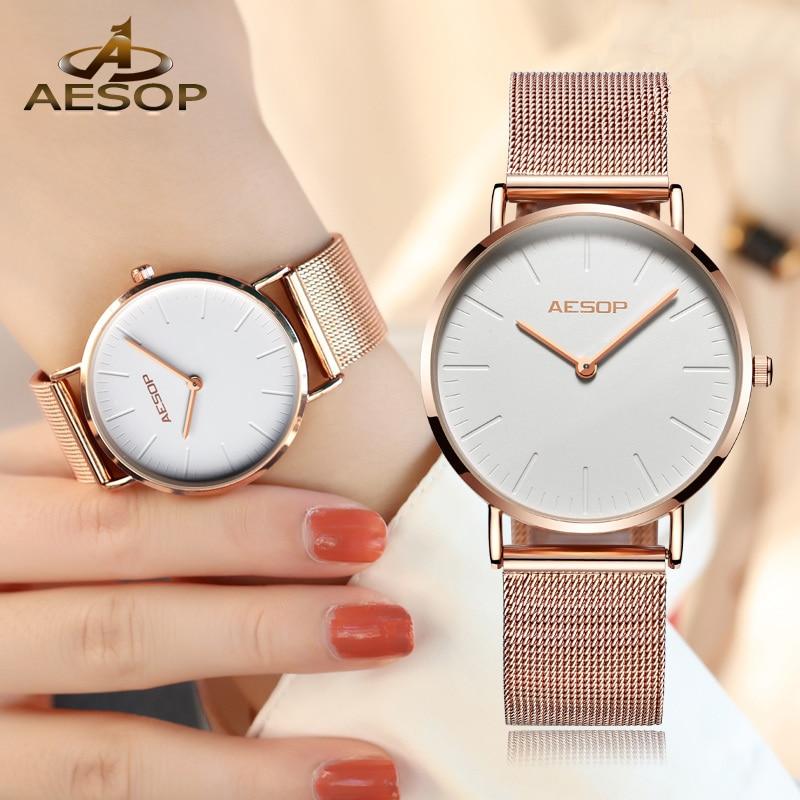 AESOP Women Watch Brief Elegant Quartz Wristwatch Rose Gold Simple Thin Ladies Clock Waterproof Relogio Feminino Montre Saati