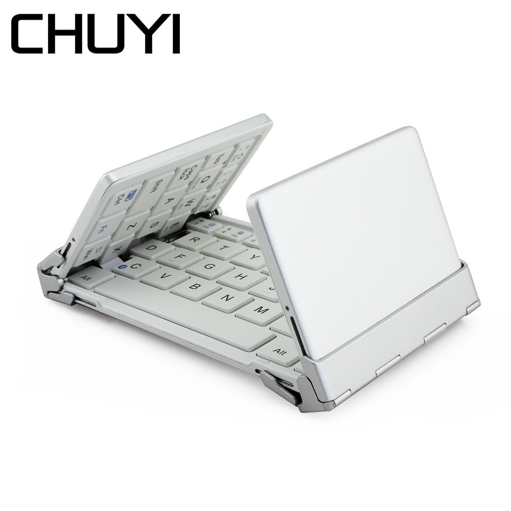 CHUYI Bluetooth Wireless Keyboard and Mouse Combo Foldable Mini Pocket Wireless Keyboard Dual Mode Mouse For Laptop Notebook PC ubk 500 rf world s most mini wireless keyboard mouse combo