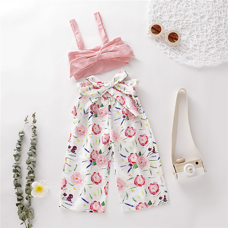 Newborn Crop Top Pant 2pcs Clothes Set Children Clothing Fashion Infant Baby Girls Floral Tops Floral Pants Outfits Sets