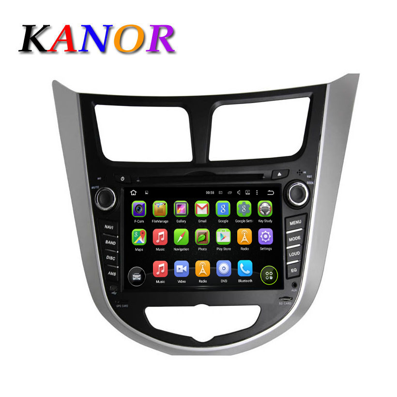 1024*600 Capacitive Touch Screen Android 5.1.1 Car DVD GPS For Hyundai Accent Solaris With Audio Cassette Player som de carro
