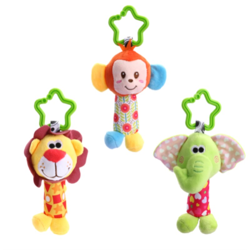 Baby Toys Cute Animal Plush Hand Bells Baby Music Rattle For Kid Toys For Newborn Safety Seat Stroller Educational Toys