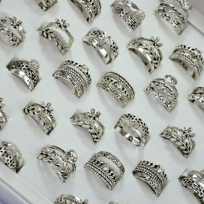 150Pcs 50Sets Hotsale 3 in 1 Zircon Ancient Silver Rings Set Girl Women Wholesale Jewelry Bulks