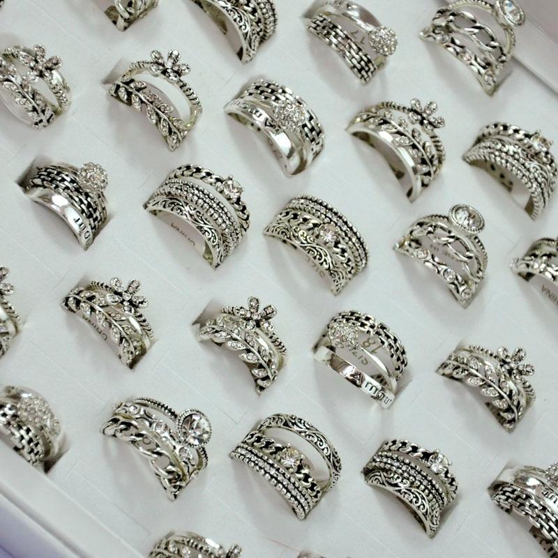 150ピース50セットhotsaleの3で1ジルコン古代シルバーリングセット女の子女性卸売ジュエリーバルクロット送料無料LR4044  グループ上の ジュエリー & アクセサリー からの 婚約指輪 の中 1
