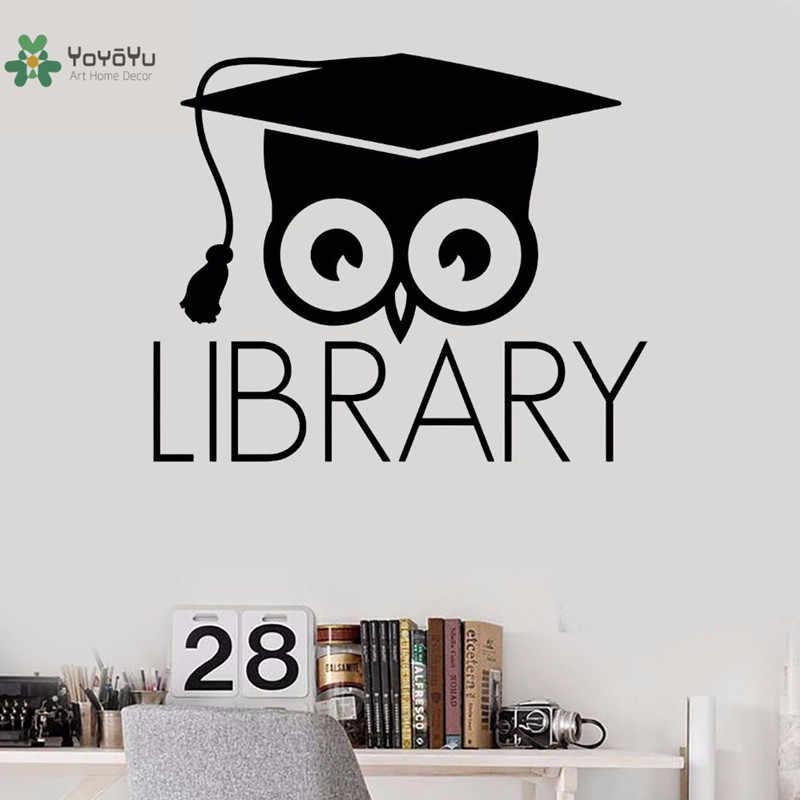 YOYOYU Livros Da Biblioteca de sala de Aula Adesivos de Parede Decalque Da Parede do Projeto Da Arte Mural Coruja SY870 Científica Da Janela do Vinil Decor Removível DIY
