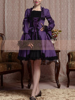 2017 New Clothing Cosplay Gothic Dress Custom Made Elegant Halloween Party Puff Sleeve Black Purple Dress
