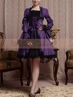 2017 New Clothing Cosplay Gothic Dress Custom Made Elegant Halloween Party Puff Sleeve Black Purple Dress