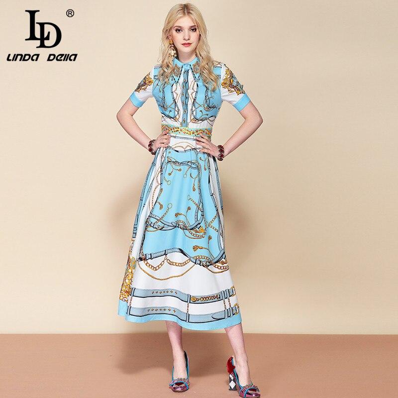 LD 자꾸 미루다가 델라 2019 Fashion 활주로 Suummer 공휴일 긴 Dress Women's Gorgeous Printed 구슬 빈티지 우아한 Dress-에서드레스부터 여성 의류 의  그룹 3
