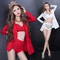Мода певица сценическое шоу красный белый сексуальный костюм тонкий одежда бар ds dj танец blazer экипировка производительность одежда