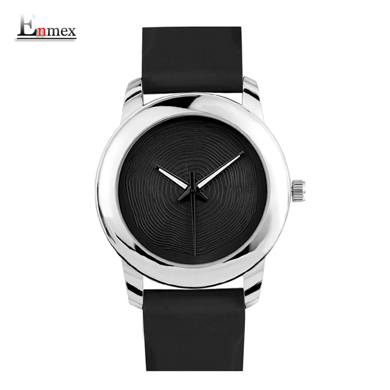 Gift Enmex creative style lady wristwatch silver 3D vortex face creative design silicone band Luminous brief casual quartz watch купить
