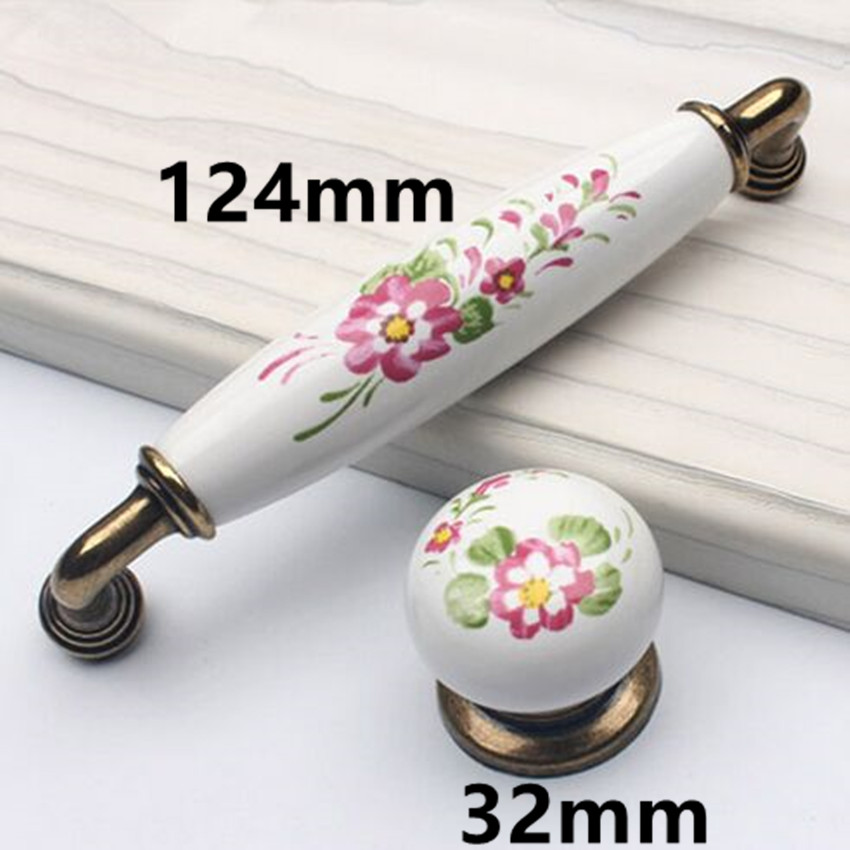 Retro fashion rural ceramic furniture handles white pink flower porcelain kitchen cabinet drawer pull knob bronze dresser handle new cartoon ceramic cabinet drawer knob kids wardrobe handle kitchen furniture flower closet handles children dresser pulls