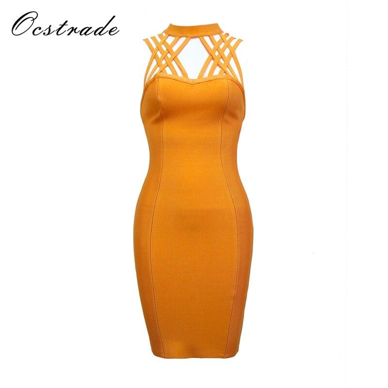 Ocstrade Woman Bandage Dresses 2017 Summer New Sexy Women Orange Triple Strap Bandage Dress Rayon Wholesale