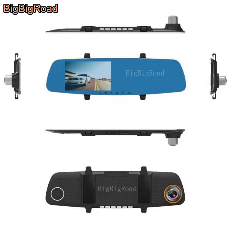 BigBigRoad Car DVR For vw tiguan caravelle t4 t5 Blue Screen Rearview Mirror Video Recorder Car Dual Camera 5 INCH Car Black Box
