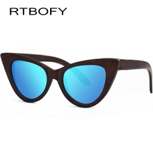 RTBOFY Wood Sunglasses Women Polarized Lens Cat Eye Glasses Bamboo Frame Eyewear 2017 New Designer Shades UV400 Protection ZB76