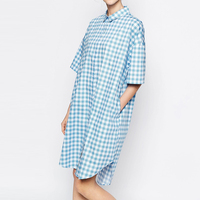 Great Britain Style 2016 Cute Blue And White Plaids Half Sleeve High Low Asymmetrical Dress Women